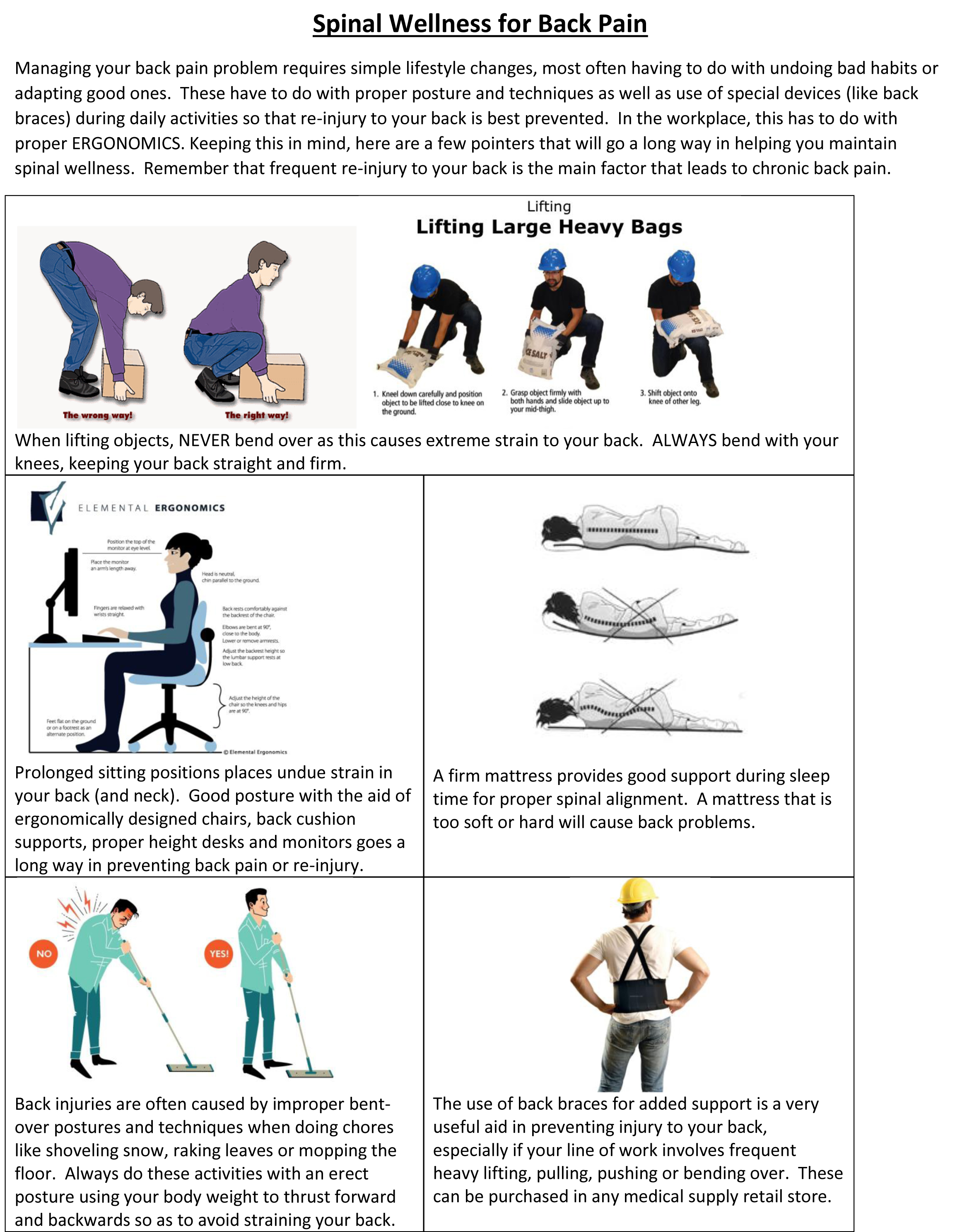 Spinal Wellness for Back Pain fice Instructions HEALTHCARE